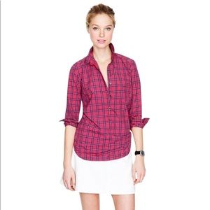 JCREW Red Tartan Popover Plaid Pullover Shirt S 2